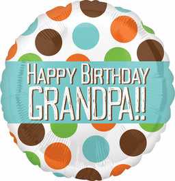 Happy Birthday Grandpa Dots Balloon