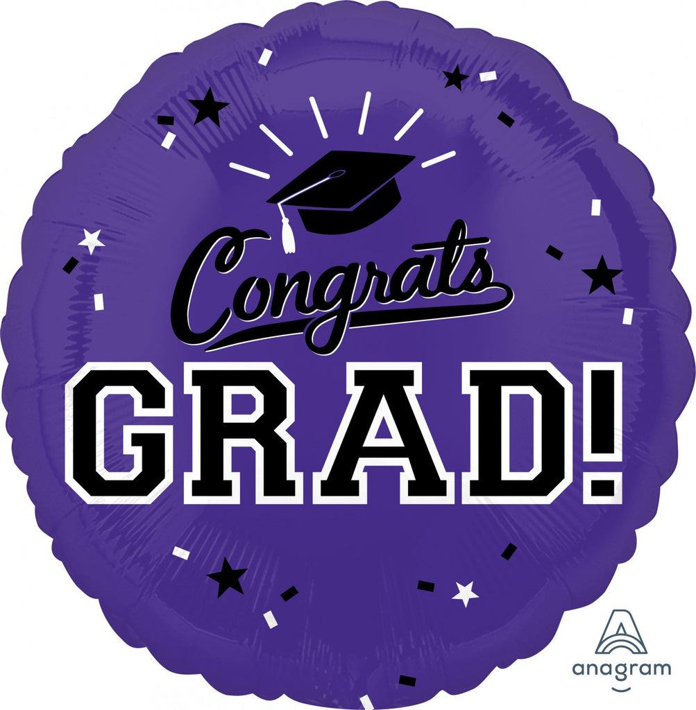 "Congrats Grad Purple 18"" Mylar Balloon"
