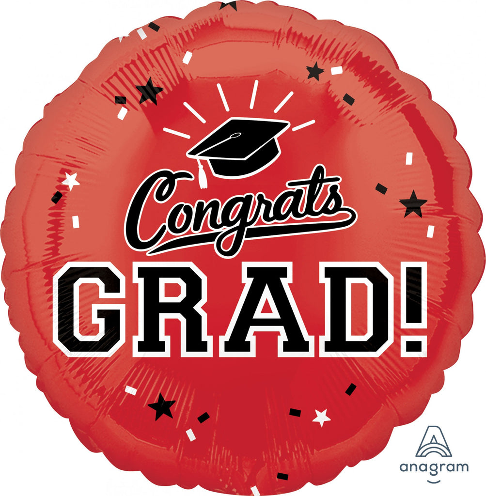 "Congrats Grad Red 18"" Mylar Balloon"