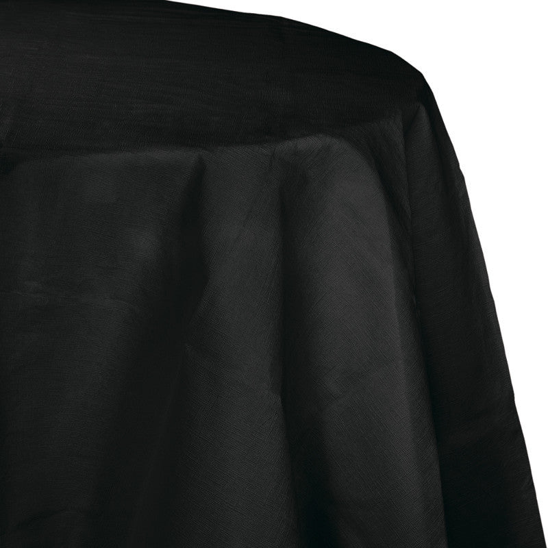Jet Black Oblong Vinyl Tablecover - BLACK .10 - Party Supplies - America Likes To Party