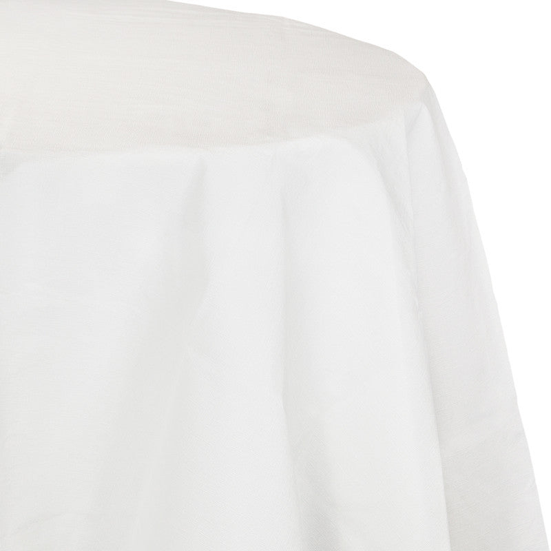 Frosty White Flannel-Backed Vinyl Oblong Tablecover - WHITE .08 - Party Supplies - America Likes To Party