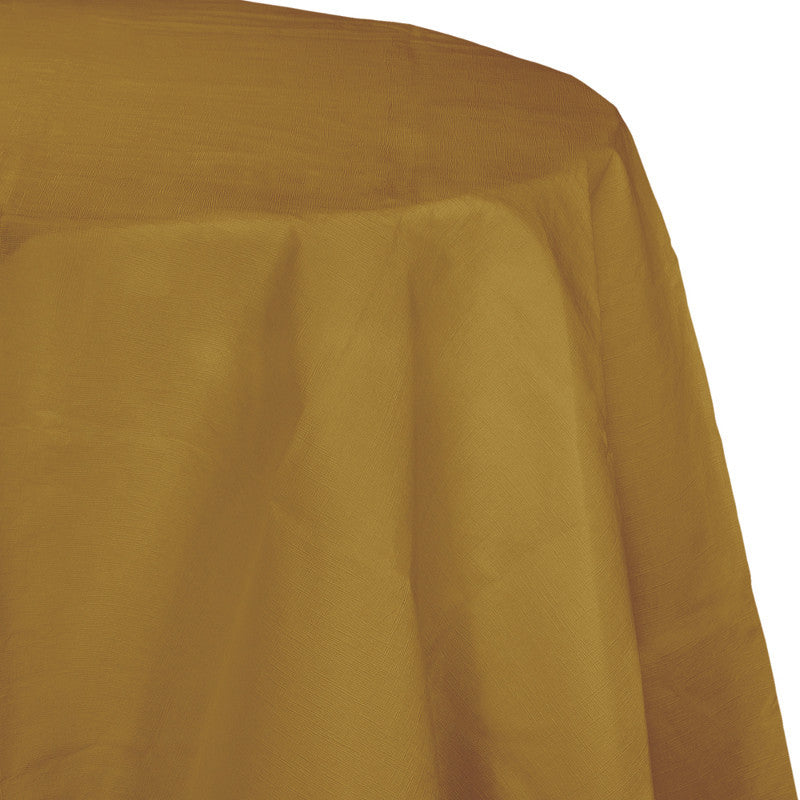 Gold Flannel-Backed Vinyl Oblong Tablecover - GOLD .19 - Party Supplies - America Likes To Party