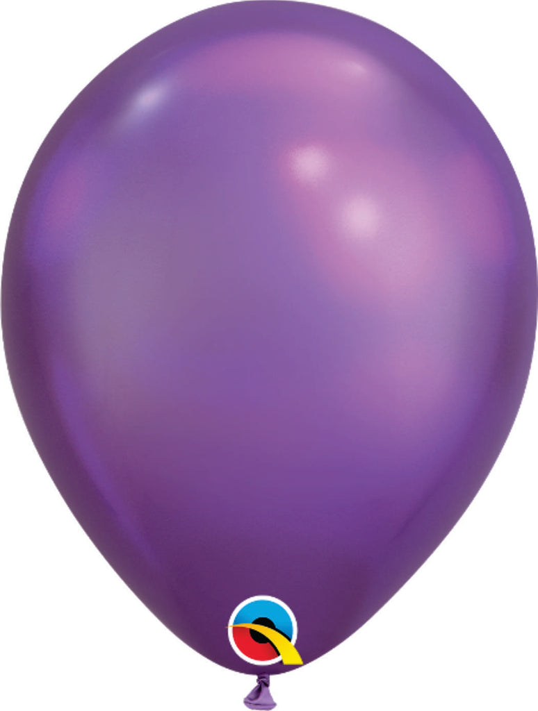 "11"" QUALATEX CHROME PURPLE 100CT"