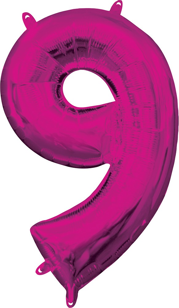 Air Filled Magenta Number 9 Balloon