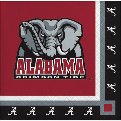 Alabama Beverage Napkins 20ct - COLLEGE SPORTS - Party Supplies - America Likes To Party