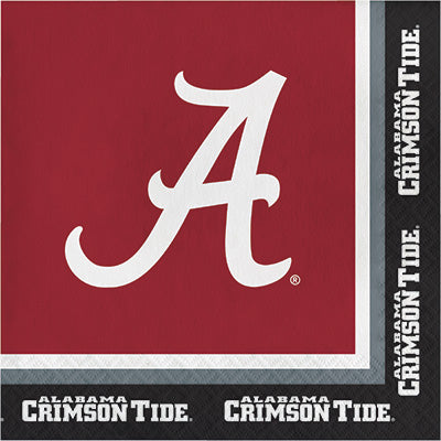Alabama Lunch Napkins 20ct - COLLEGE SPORTS - Party Supplies - America Likes To Party