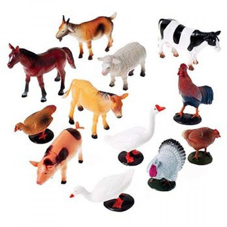 Farm Animal Figurines 12ct - PACKAGED FAVORS - Party Supplies - America Likes To Party
