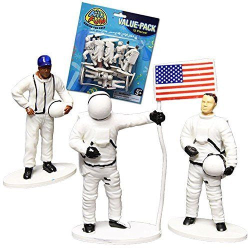 Astronaut Figurines 12ct - PACKAGED FAVORS - Party Supplies - America Likes To Party
