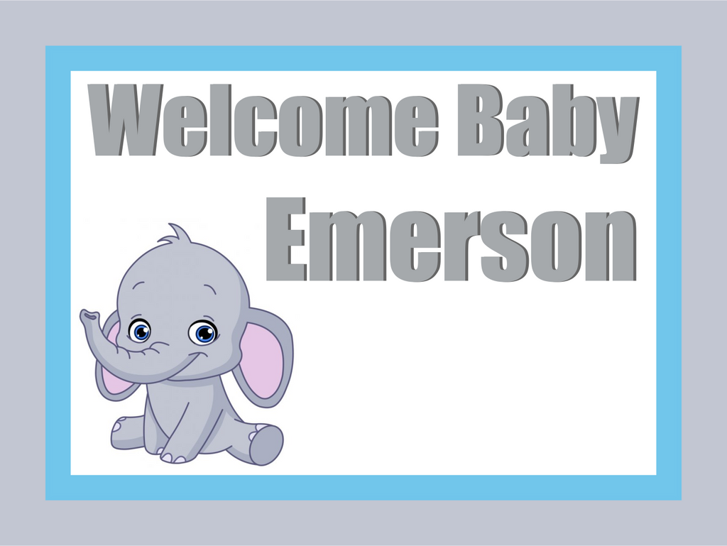 "Baby Boy Elephant Custom 18"" X 24"" Lawn Sign"