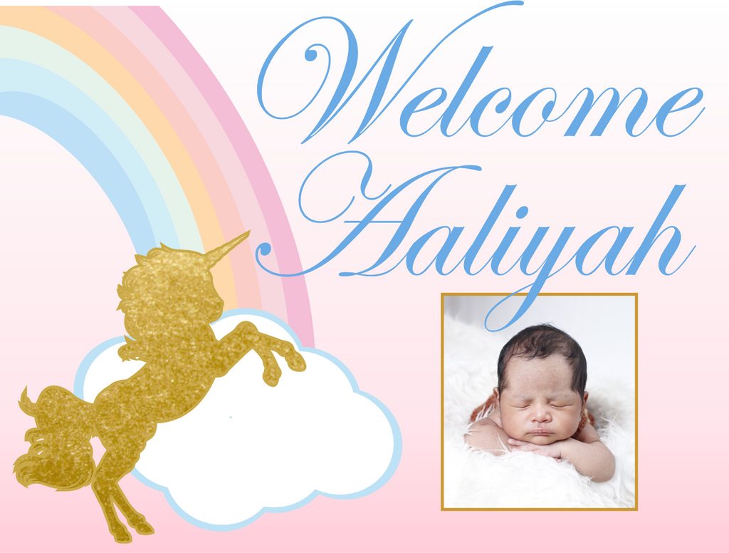 "Baby Unicorn Custom 18"" X 24"" Lawn Sign"