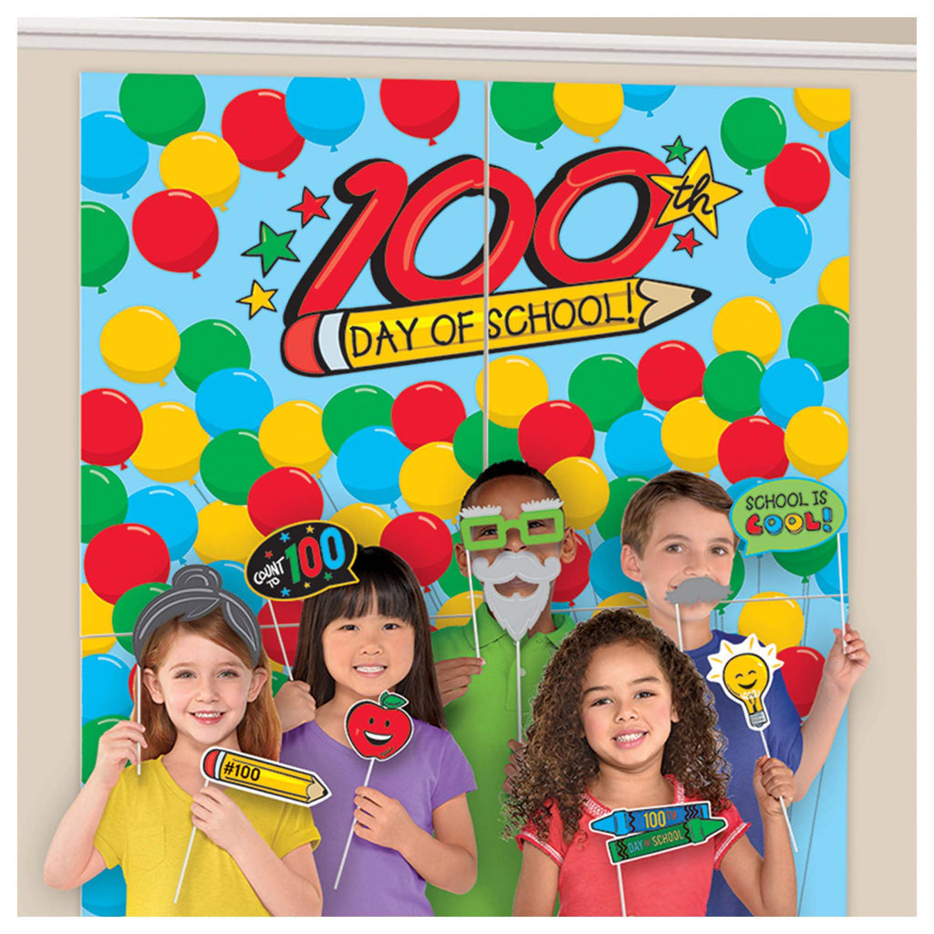 100th Day of School Photo Props with Backdrop