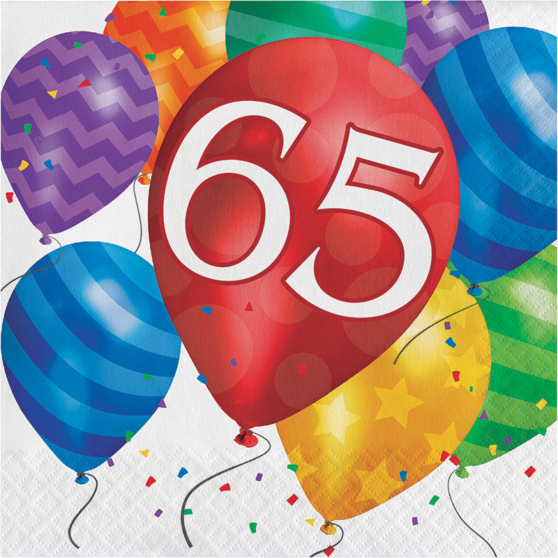 Balloon Blast 65th Birthday Lunch Napkins - CELEBRATE-BALLOON BLAST - Party Supplies - America Likes To Party