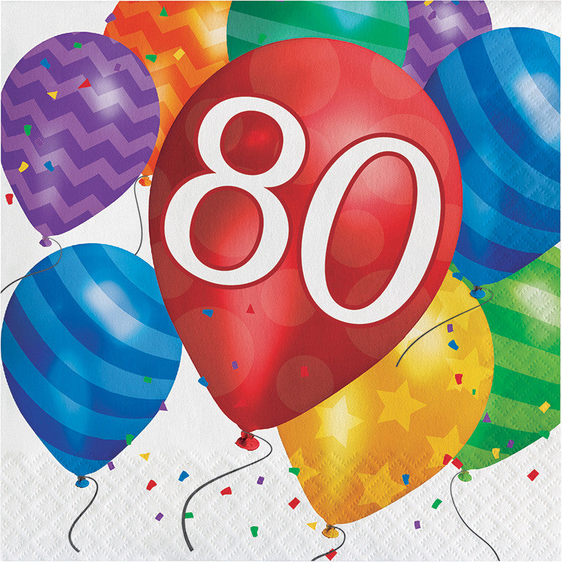 Balloon Blast 80th Birthday Lunch Napkins - CELEBRATE-BALLOON BLAST - Party Supplies - America Likes To Party