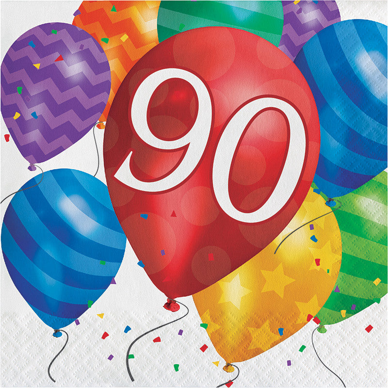 Balloon Blast 90th Birthday Lunch Napkins - CELEBRATE-BALLOON BLAST - Party Supplies - America Likes To Party