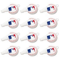 MLB Whistles 12ct - BASEBALL/SOFTBALL - Party Supplies - America Likes To Party