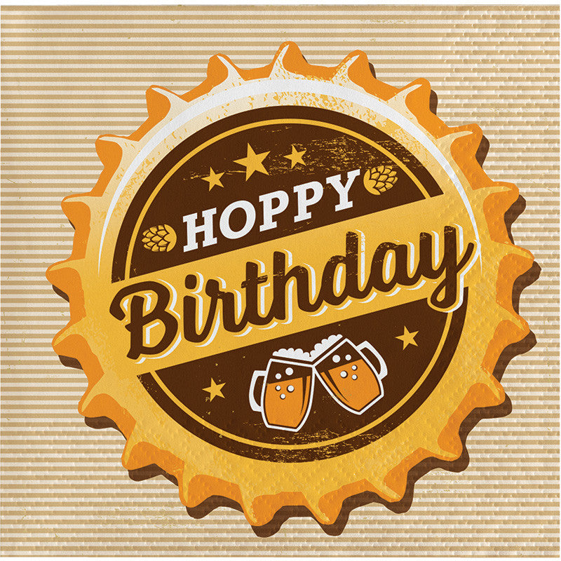 Beers & Cheers Hoppy Birthday Beverage Napkins 16ct - GENERAL BIRTHDAY PATTERNS - Party Supplies - America Likes To Party