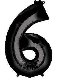 Giant Black Number 6 Balloon - MEGALOON NUMBERS/LETTERS - Party Supplies - America Likes To Party
