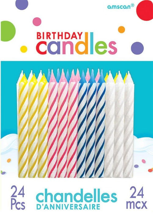 Assorted Candy Stripe Candles 24ct - BIRTHDAY CANDLES - Party Supplies - America Likes To Party