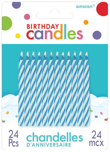 Blue Candy Stripe Candles 24ct - BIRTHDAY CANDLES - Party Supplies - America Likes To Party