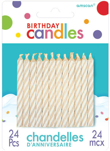 White Candly Stripe Candles 24ct - BIRTHDAY CANDLES - Party Supplies - America Likes To Party