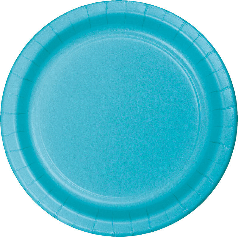 Caribbean Blue Big Party Pack Paper Dessert Plates 50ct - BIG PARTY PACKS - Party Supplies - America Likes To Party
