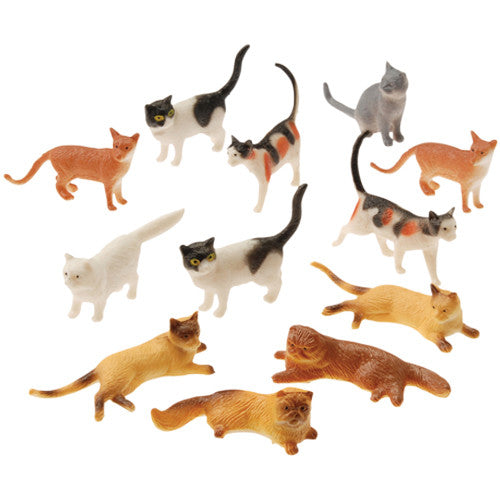 Cat Figurines 12ct - PACKAGED FAVORS - Party Supplies - America Likes To Party