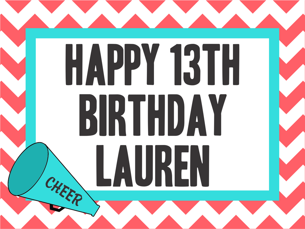 "Cheer Birthday Custom 18"" X 24"" Lawn Sign"