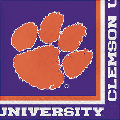 Clemson Lunch Napkins 20ct - COLLEGE SPORTS - Party Supplies - America Likes To Party