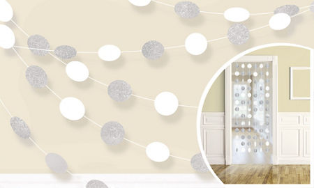Glitter White Dot String Decorations 6ct - PAPER TISSUE DECOR - Party Supplies - America Likes To Party