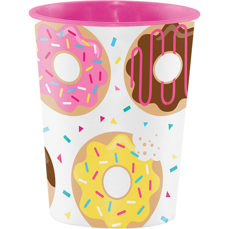 Donut Time 16oz Plastic Cup - GENERAL BIRTHDAY PATTERNS - Party Supplies - America Likes To Party