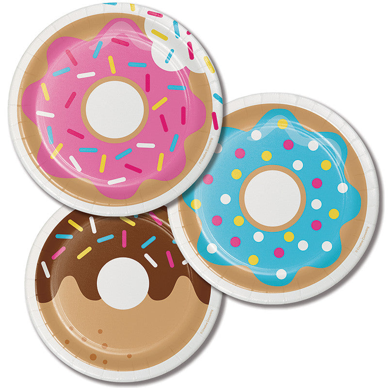 Donut Time Assorted Dessert Plate 8ct - GENERAL BIRTHDAY PATTERNS - Party Supplies - America Likes To Party