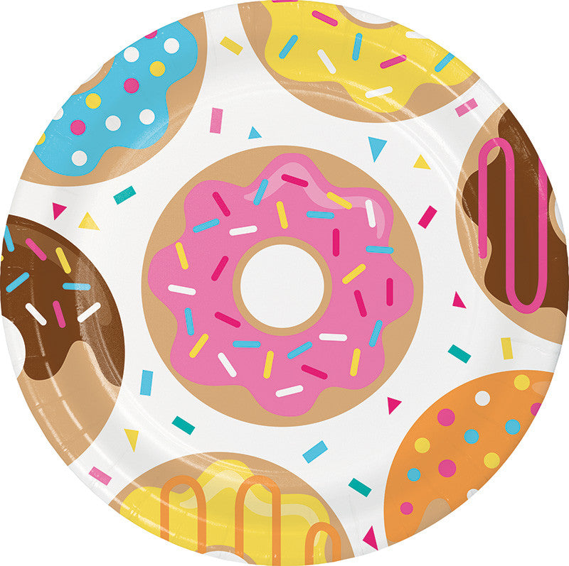 Donut Time Lunch Plates 8ct - GENERAL BIRTHDAY PATTERNS - Party Supplies - America Likes To Party