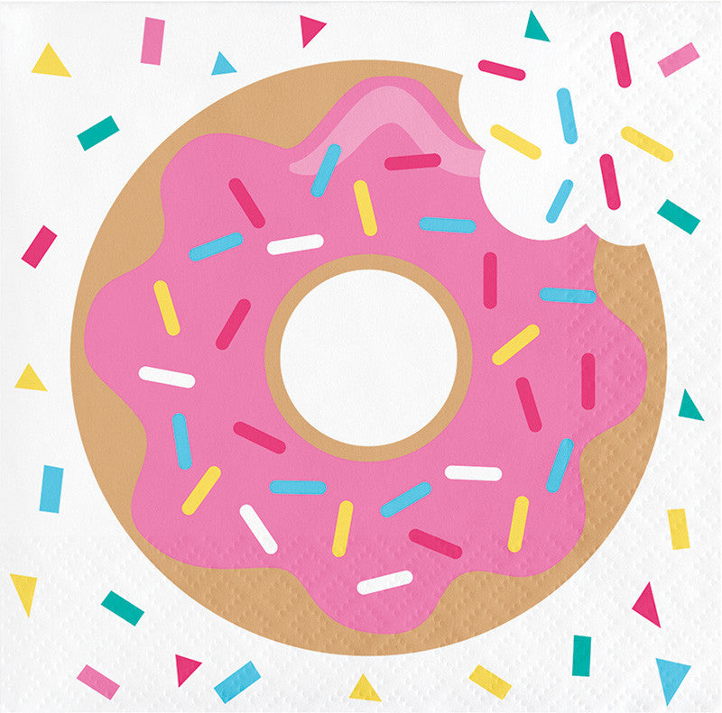 Donut Time Beverage Napkins 16ct - GENERAL BIRTHDAY PATTERNS - Party Supplies - America Likes To Party