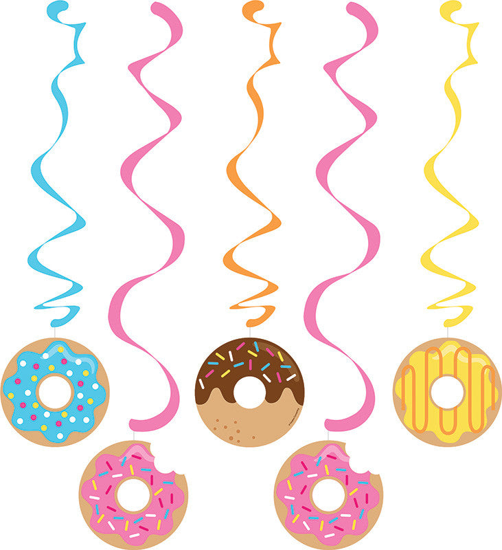 Donut Time Swirl Decorations 5ct - GENERAL BIRTHDAY PATTERNS - Party Supplies - America Likes To Party