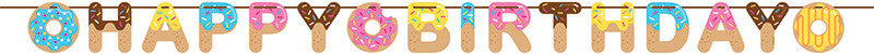 Donut Time Birthday Banner - GENERAL BIRTHDAY PATTERNS - Party Supplies - America Likes To Party