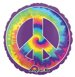 Tie Dye Peace Sign Super Shape Balloon - KIDS BDAY MYLARS - Party Supplies - America Likes To Party