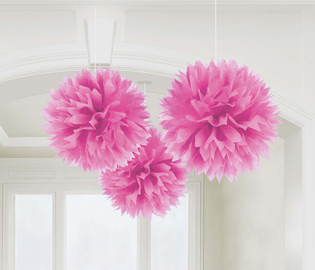 Bright Pink Fluffy Tissue Decorations - PAPER TISSUE DECOR - Party Supplies - America Likes To Party