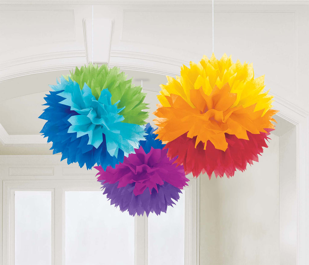 Rainbow Fluffy Tissue Decorations - PAPER TISSUE DECOR - Party Supplies - America Likes To Party