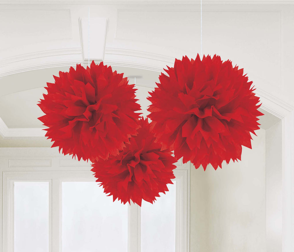Red Fluffy Tissue Decorations - PAPER TISSUE DECOR - Party Supplies - America Likes To Party