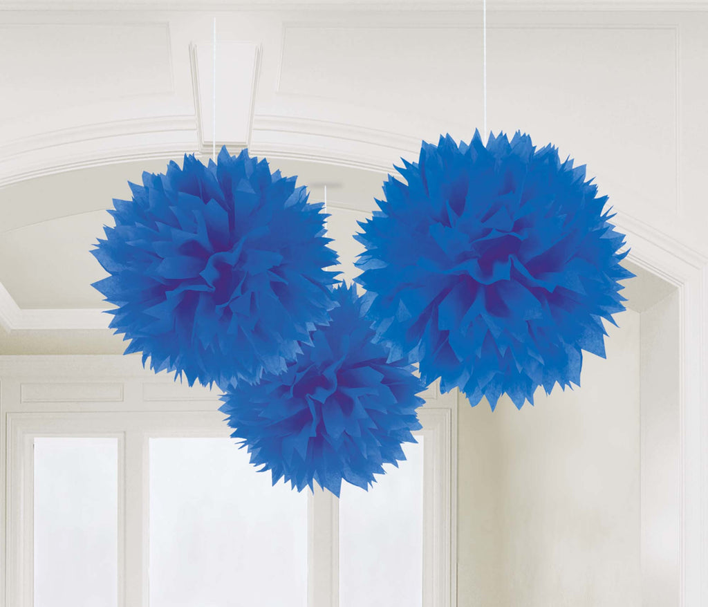 Royal Blue Fluffy Tissue Decorations - PAPER TISSUE DECOR - Party Supplies - America Likes To Party