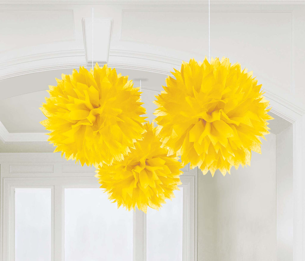 Yellow Fluffy Tissue Decorations - PAPER TISSUE DECOR - Party Supplies - America Likes To Party