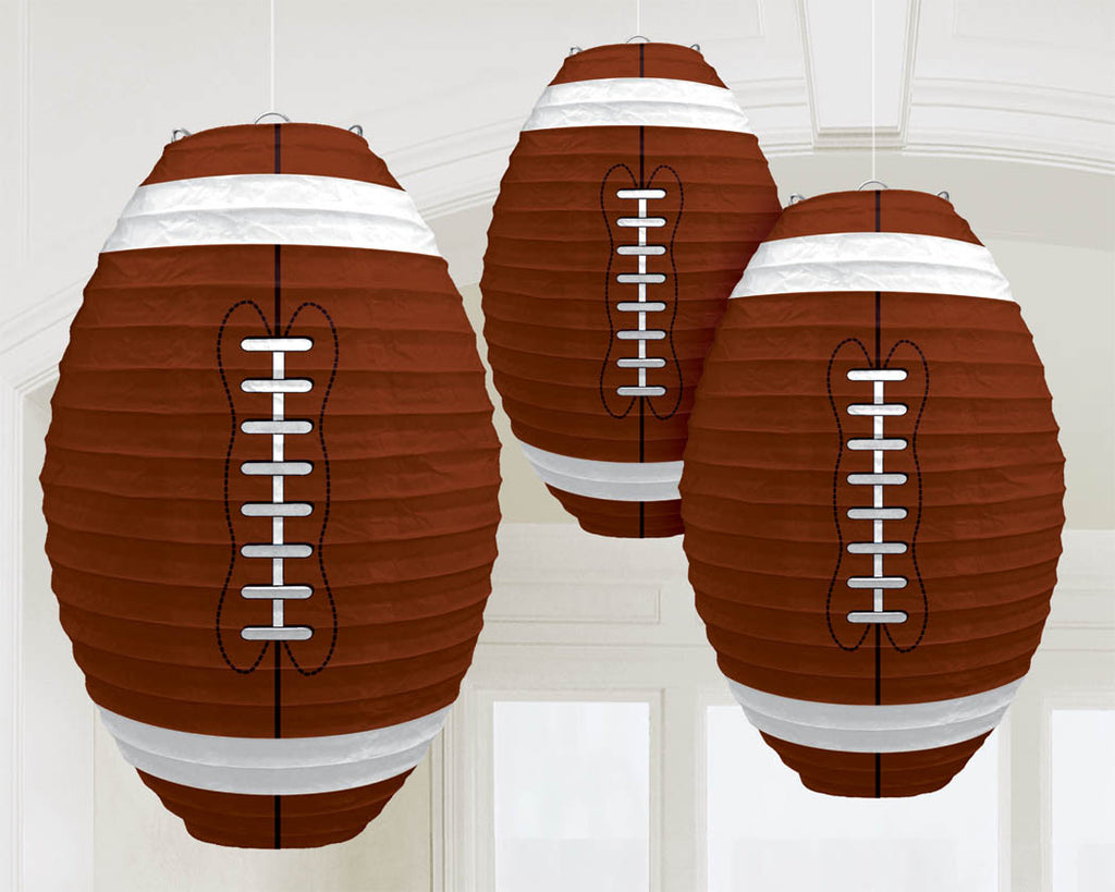 Football Paper Lanterns 3ct - FOOTBALL - Party Supplies - America Likes To Party