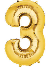 Giant Gold Number 3 Balloon - MEGALOON NUMBERS/LETTERS - Party Supplies - America Likes To Party