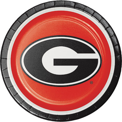 Georgia Lunch Plates 8ct - COLLEGE SPORTS - Party Supplies - America Likes To Party