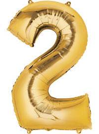 Giant Gold Number 2 Balloon - MEGALOON NUMBERS/LETTERS - Party Supplies - America Likes To Party
