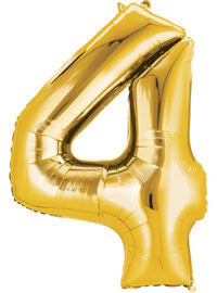 Giant Gold Number 4 Balloon - MEGALOON NUMBERS/LETTERS - Party Supplies - America Likes To Party