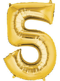 Giant Gold Number 5 Balloon - MEGALOON NUMBERS/LETTERS - Party Supplies - America Likes To Party