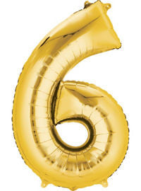 Giant Gold Number 6 Balloon - MEGALOON NUMBERS/LETTERS - Party Supplies - America Likes To Party