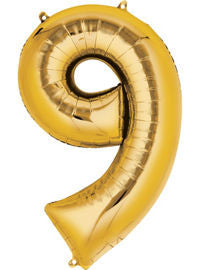 Giant Gold Number 9 Balloon - MEGALOON NUMBERS/LETTERS - Party Supplies - America Likes To Party