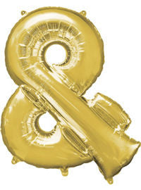 Giant Gold Ampersand Symbol Balloon - MEGALOON NUMBERS/LETTERS - Party Supplies - America Likes To Party
